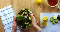 photo of person making salad