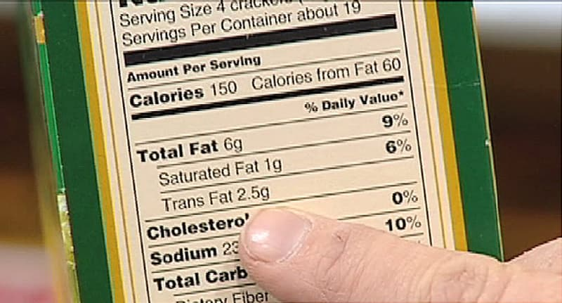 finger pointing to nutrition label