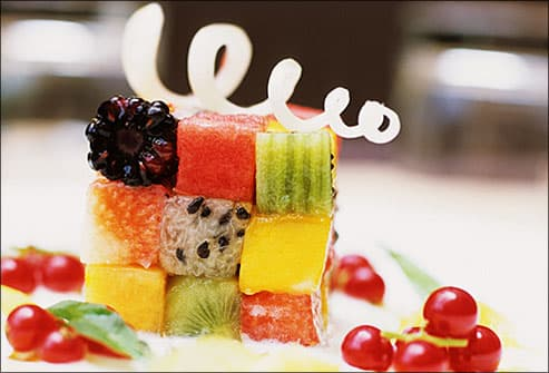 Fruit dessert arranged in cubes