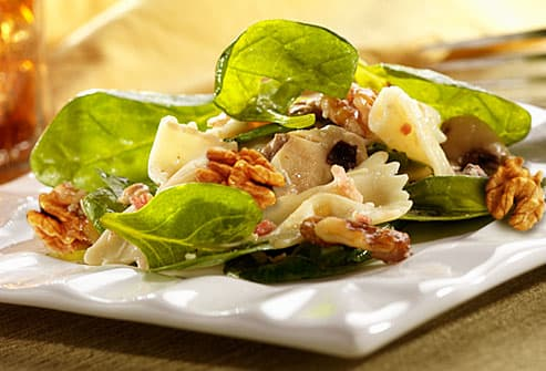 Salad greens with walnuts