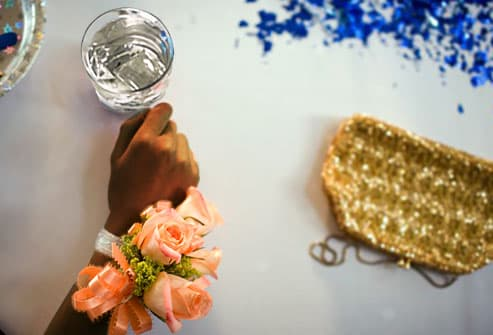 prom table with glass of water