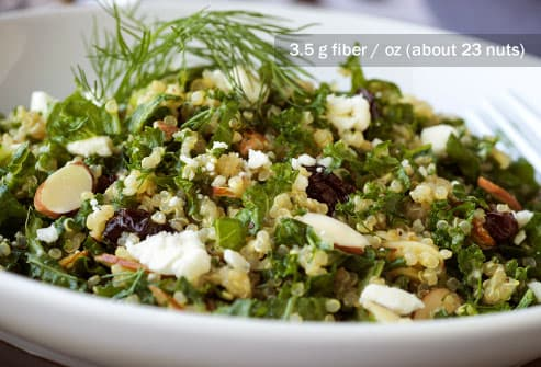 kale quinoa salad with almonds