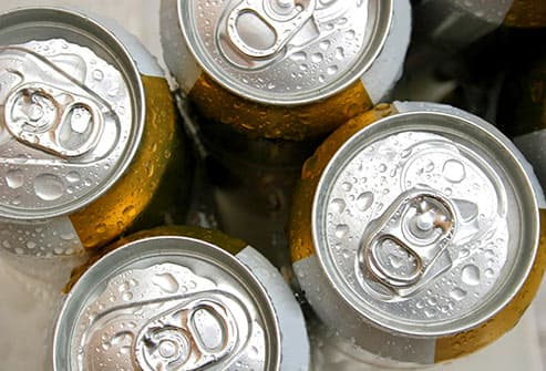 cans of beer on ice