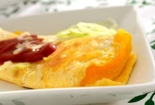 omelet and ketchup