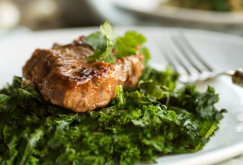lamb and sauteed kale