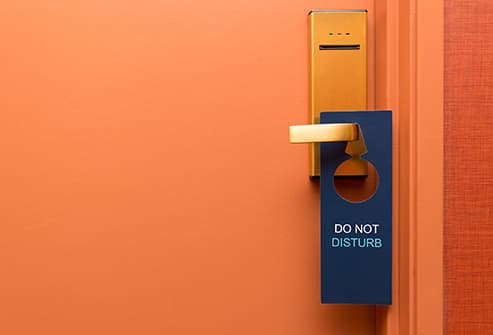 do not disturb sign on hotel door