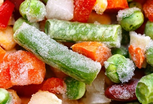 mixed frozen vegetables close up