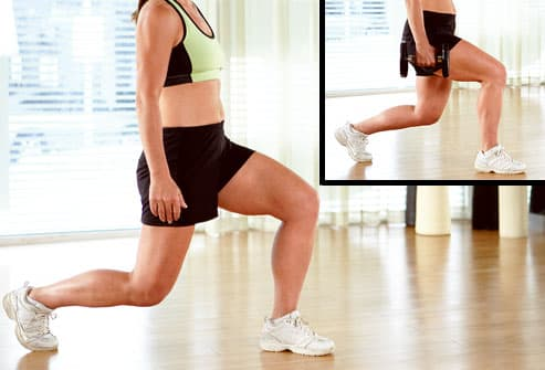 Doing lunges with and without free weights