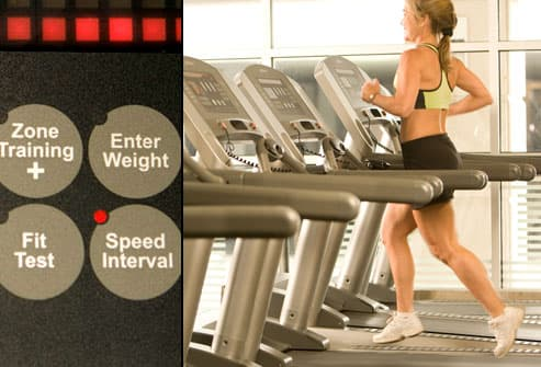 Woman jogging on treadmill with speed interval