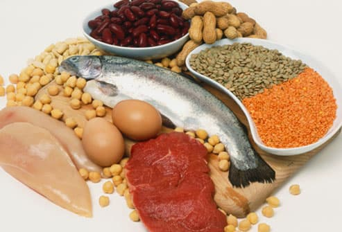 Pulses, eggs, fish, red meat, chicken and fish