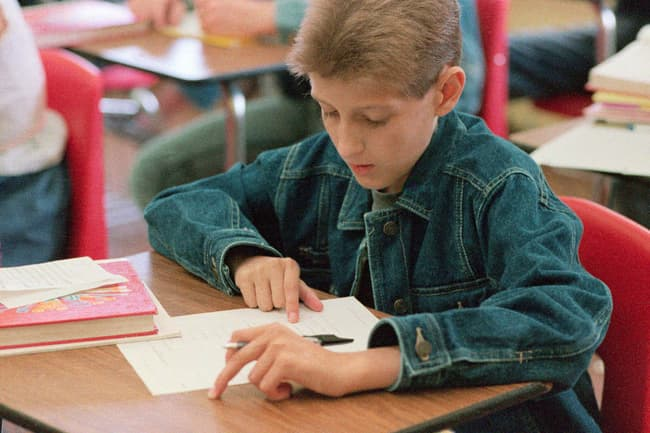 photo of ryan white in class