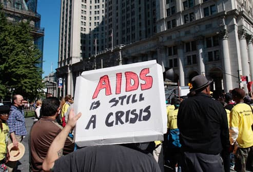 AIDS activists rally in downtown Manhattan