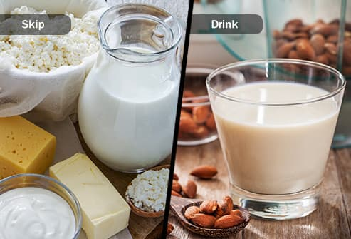 dairy products and almond milk