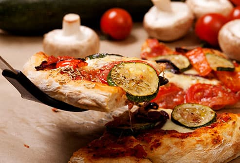 pizza loaded with veggies