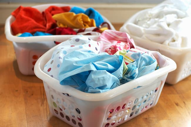sorted laundry baskets