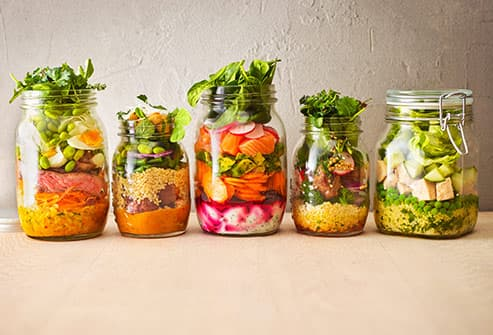 salads in preserving jars