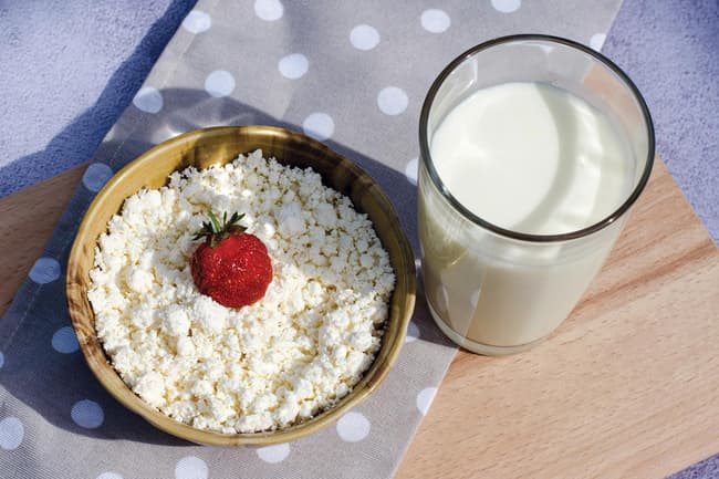 photo of cottage cheese and milk