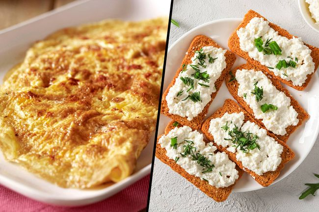 photo of omelet, cottage cheese crackers diptych