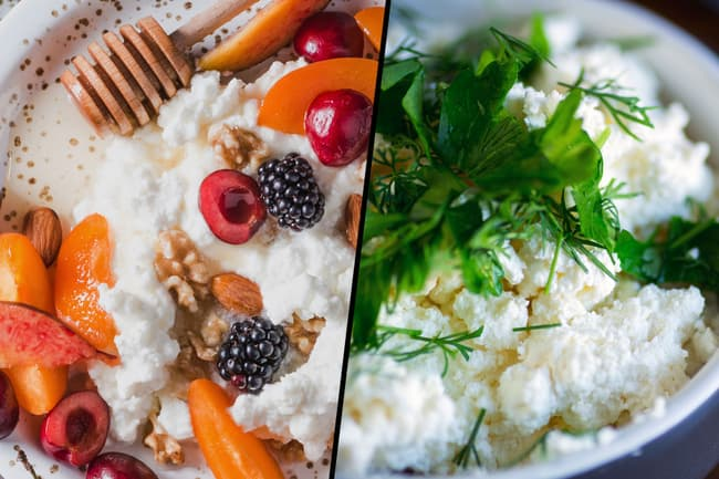photo of sweet savory cottage cheese diptych