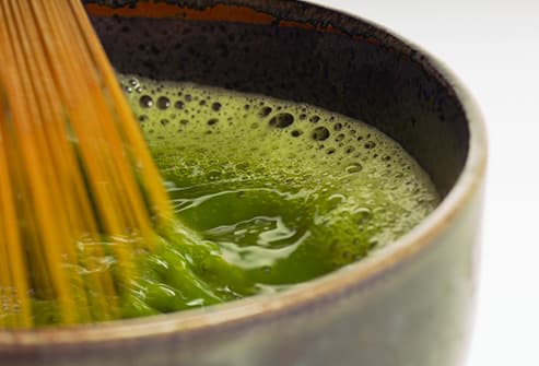 matcha being whisked