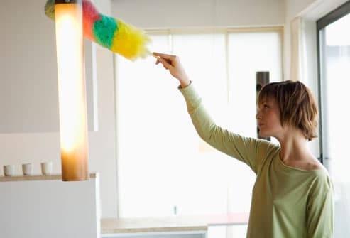 Woman Using Feather Duster