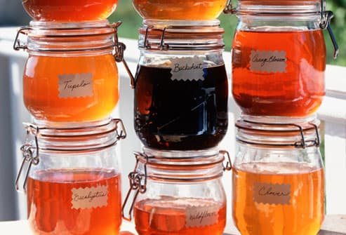 Assorted jars of homemade local honey