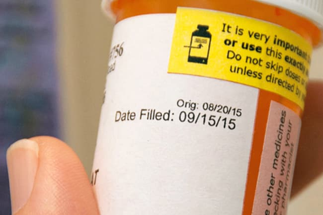prescription drug label close up