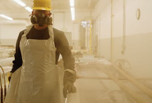 Factory Worker Wearing Safety Mask