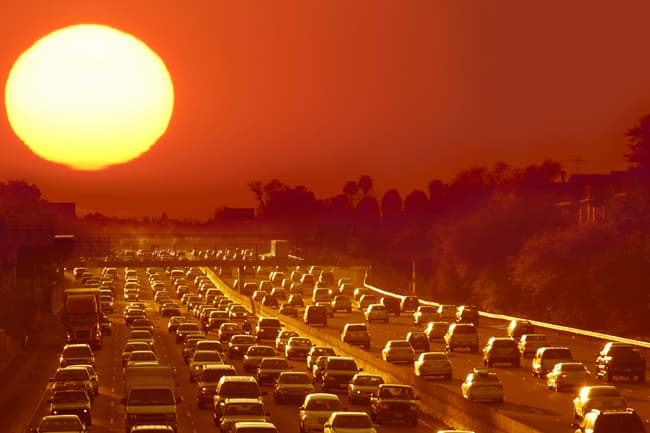 sunset and traffic