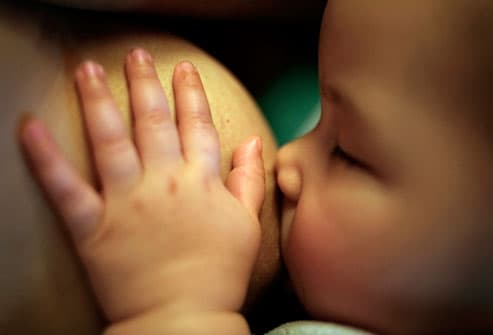 Close Up of Baby Breastfeeding