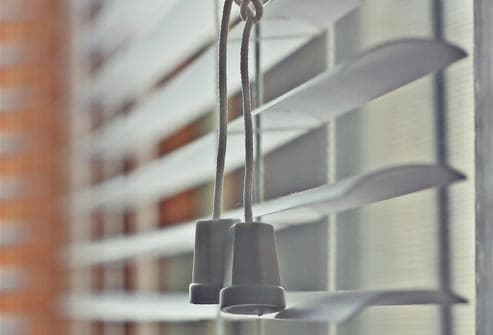 close up of blinds with pull