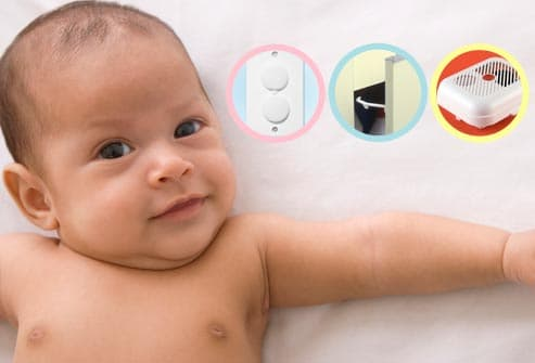 baby with safety devices