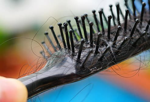 hair in brush close up
