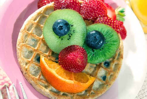 Fruity Waffle with Smiley Face