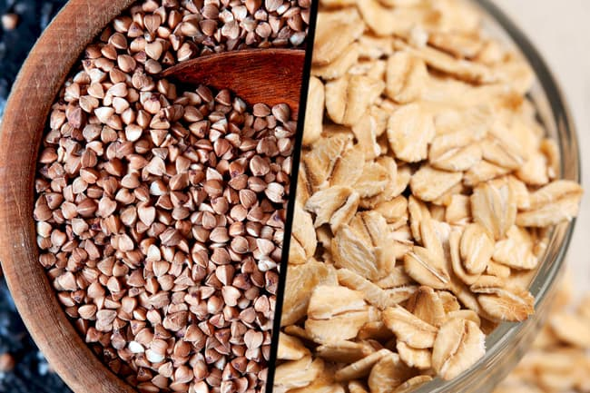 photo of groats and rolled oats diptych