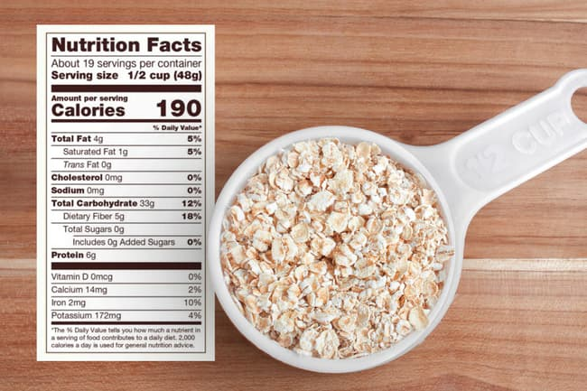 photo of half cup of oats and nutritional info