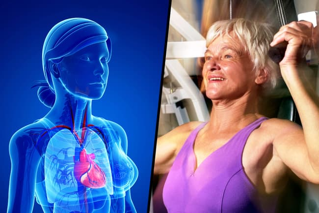 photo of heart health and weight training diptych