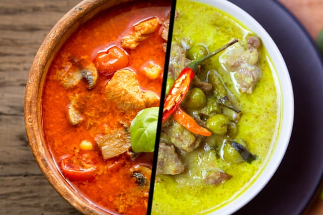 red and green curry diptych