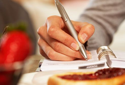 Woman keeping food diary