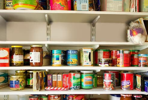 Purged pantry shelf