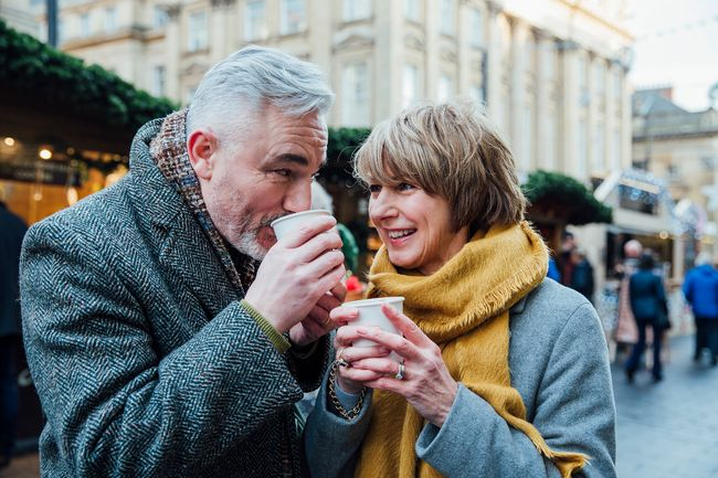 photo of couple drinking coffee