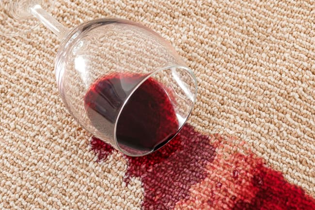 photo of spilled wine on carpet