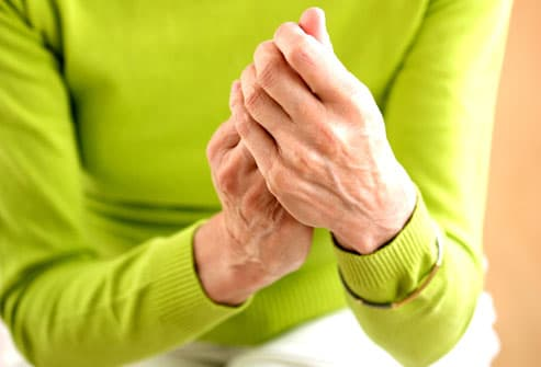 Woman With Joint Pain Rubbing Hands