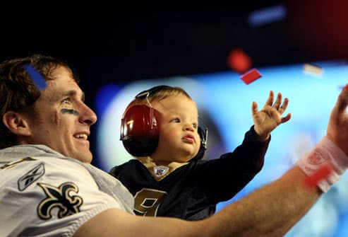 Quarterback Drew Brees at Super Bowl