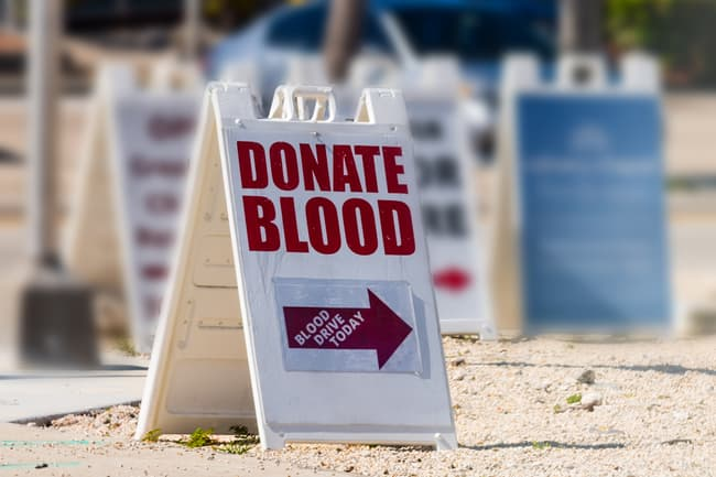 photo of blood drive sign