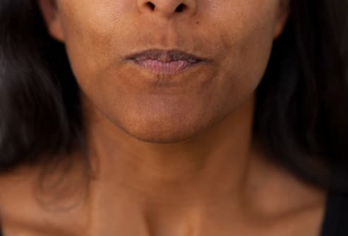 woman with tense lips