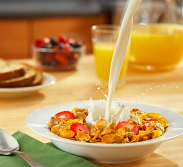 Milk and cereal star in a healthy breakfast