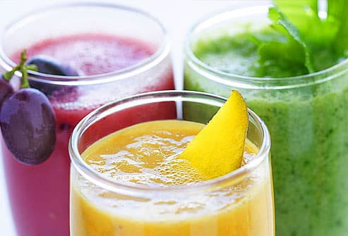 selection of fresh fruit and vegetables smoothies