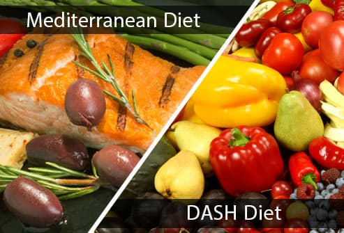 diptych of mediterranean and dash foods