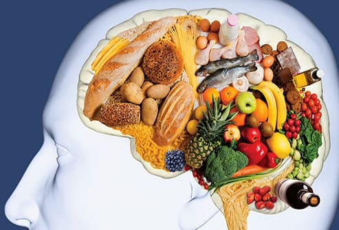 composite image of healthy food in shape of brain